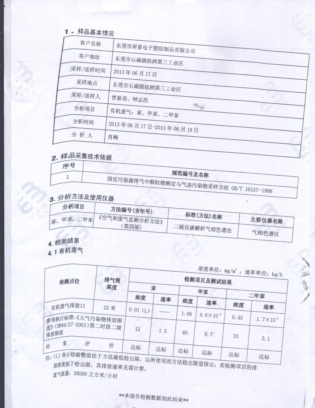 东莞有机废气监测,环保监测服务