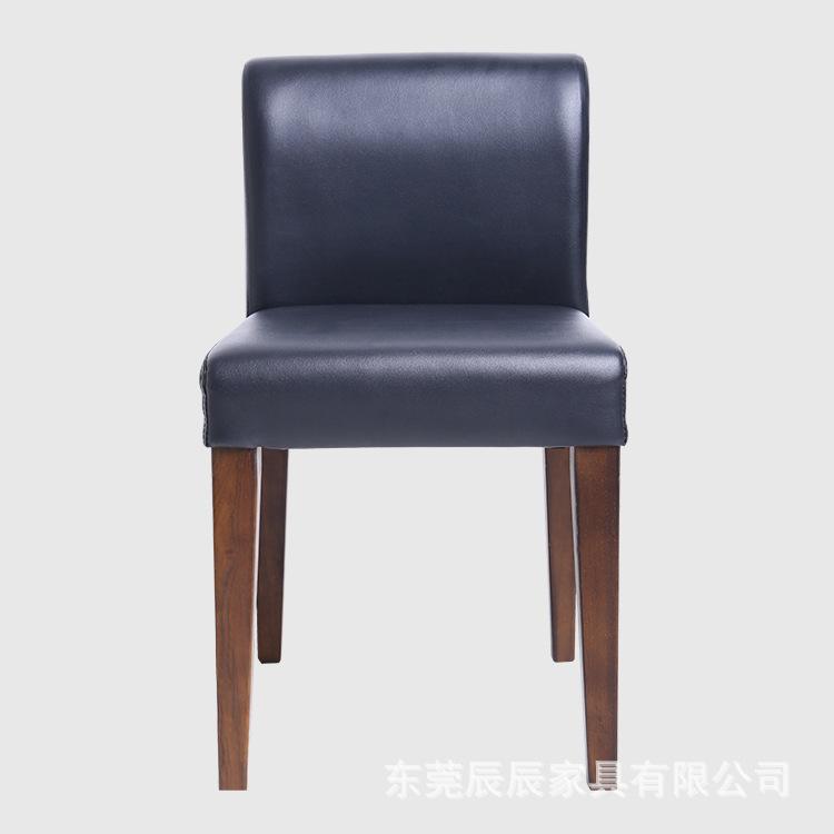 四腿椅简约时尚皮质实木结合办公餐桌椅 高品质 厂家销售